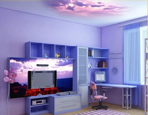 Интерьер комнаты первоклассника в синих тонах