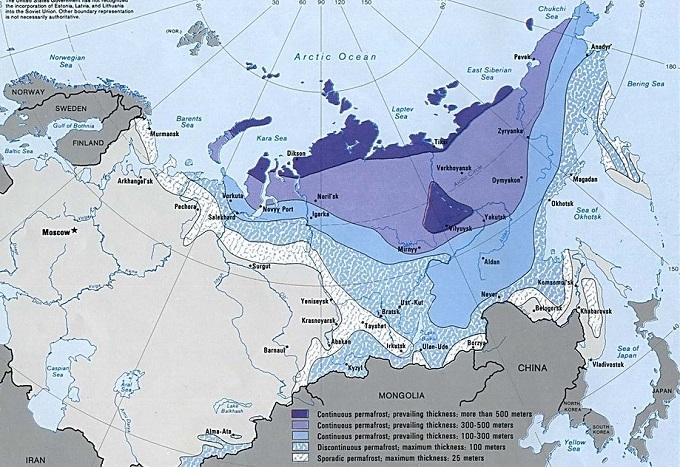 Карта вечной мерзлоты Сибири